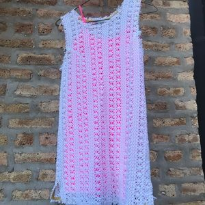 Free people white crochet dress with pink slip